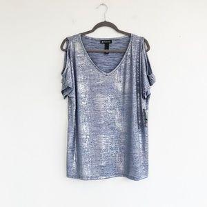 INC NWT Metallic, Cold-Shoulder blouse